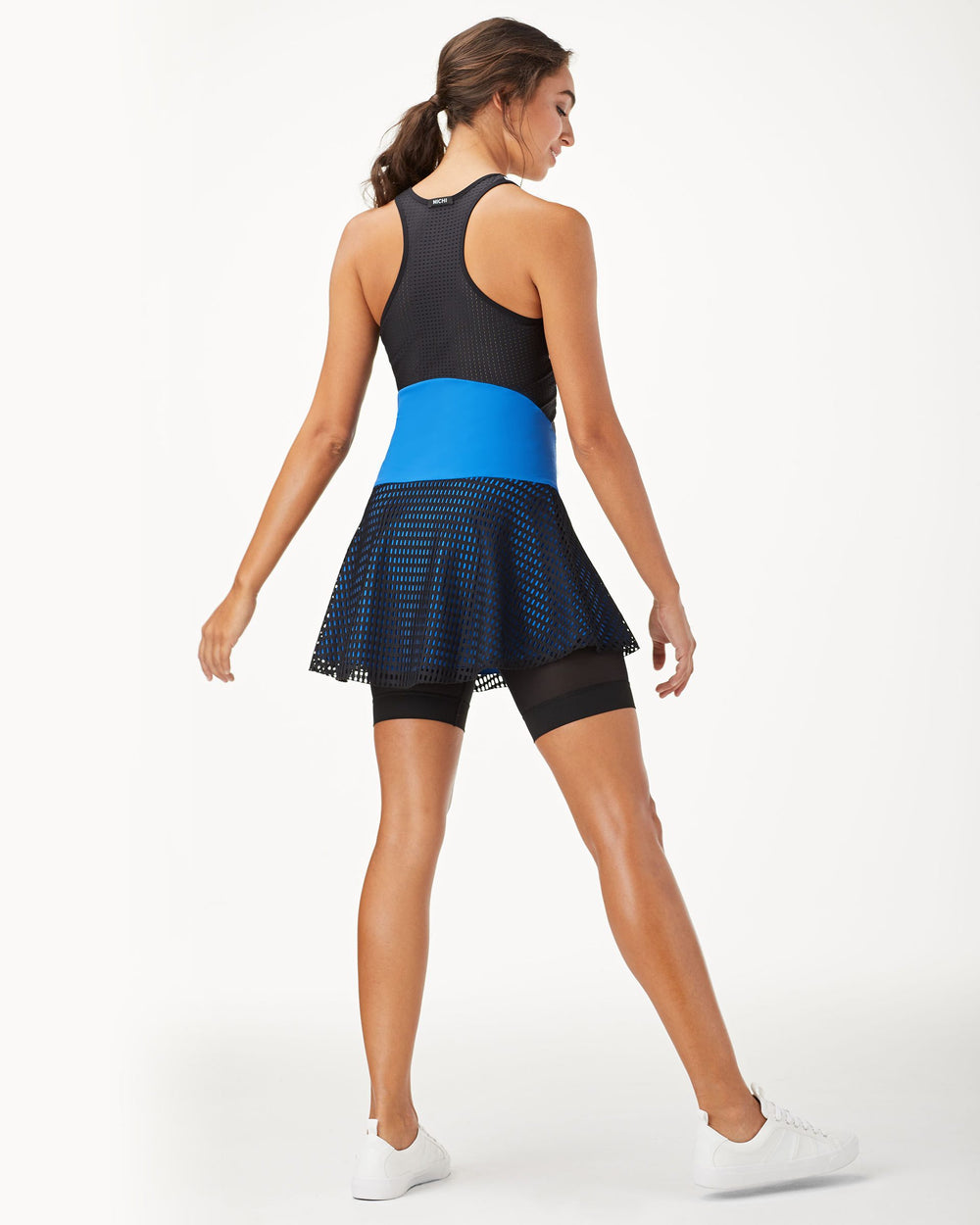 Drop Tennis Dress - White/Black/Adriatic Blue