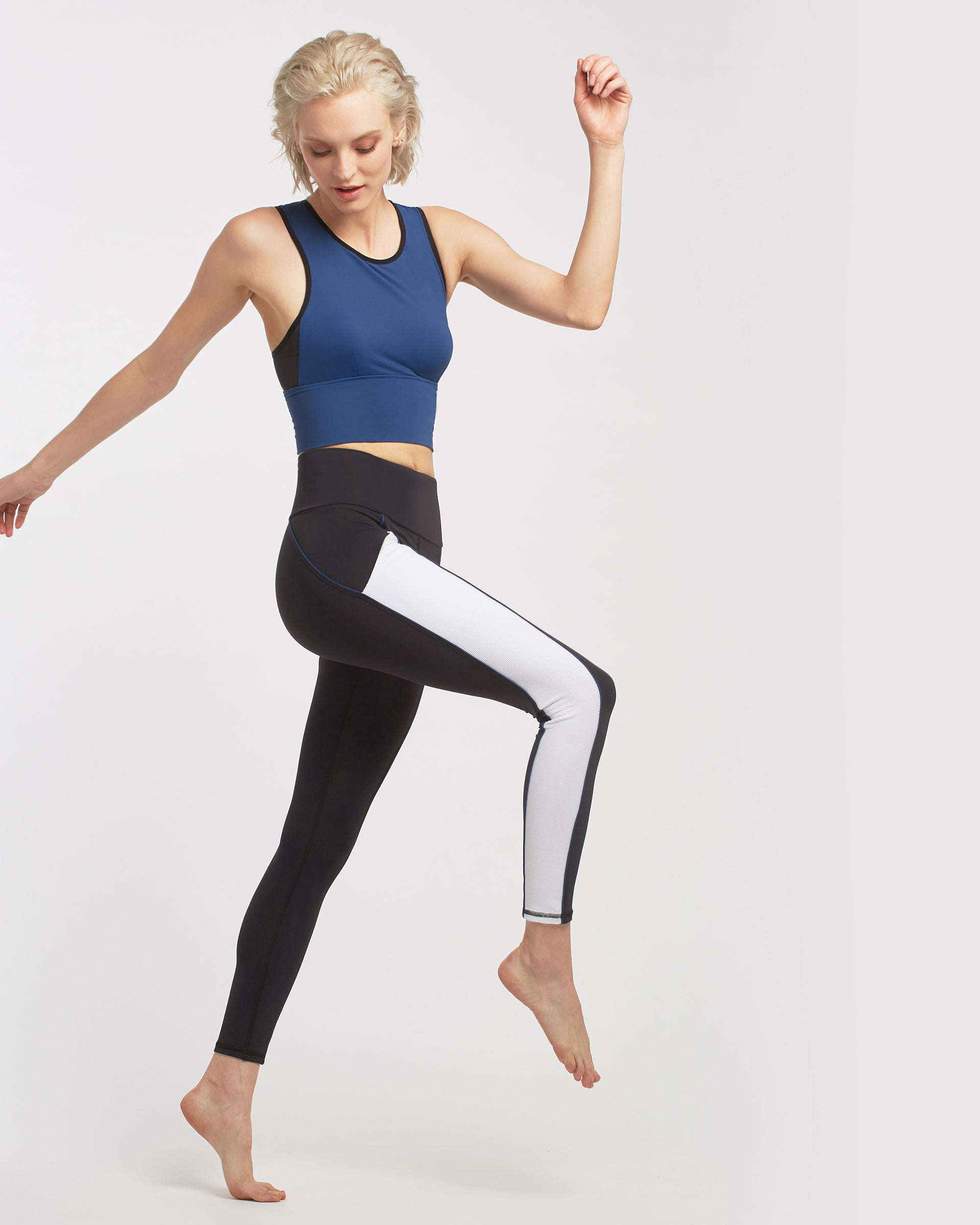 Gradient Pocket Legging - Black/White/Adriatic Blue
