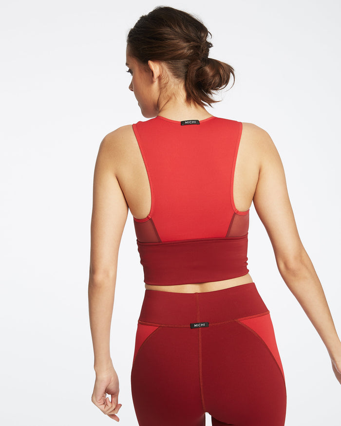 Ignite Crop Top - Fire Red/Earth Red