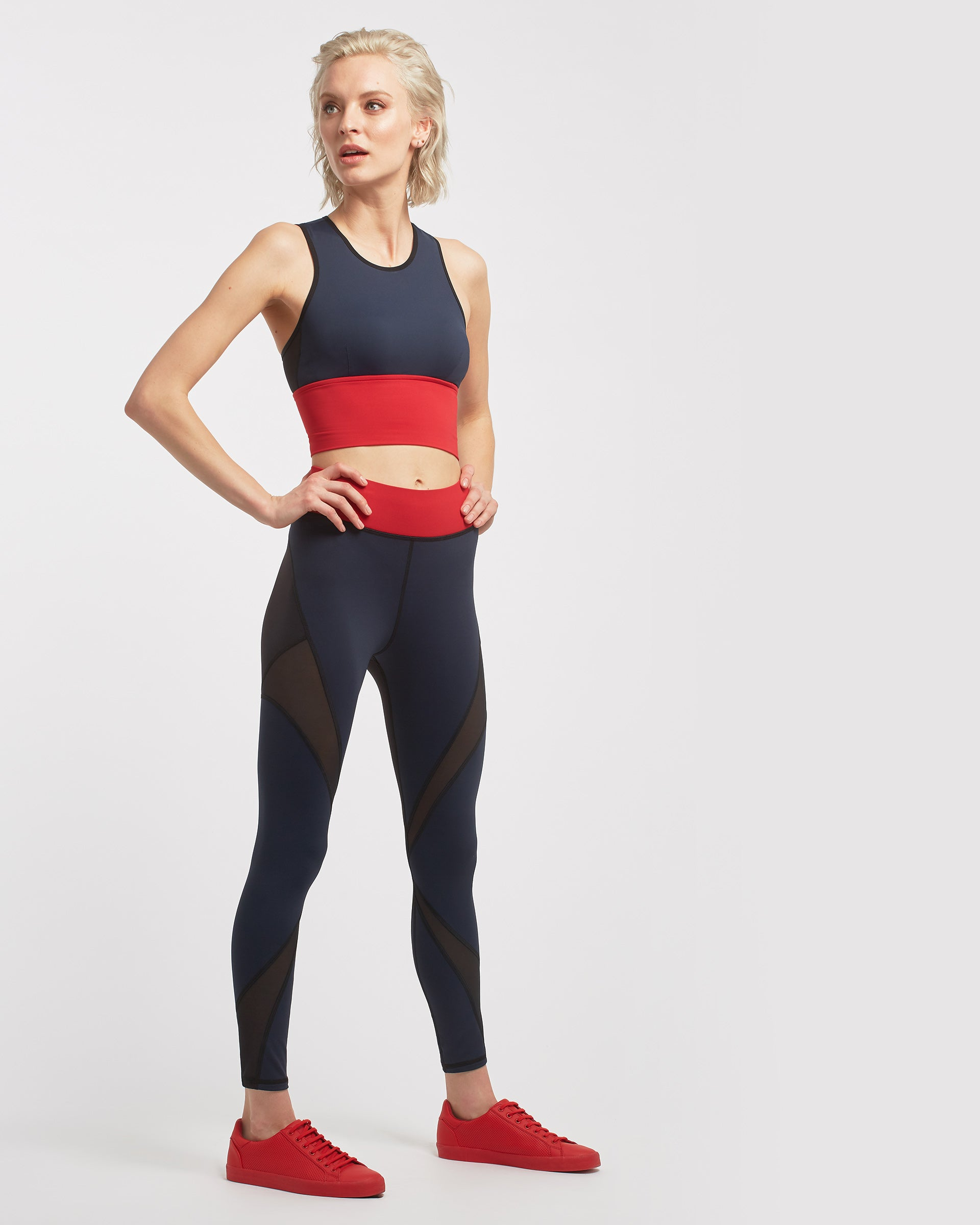 Ignite Crop Top - Deep Sea Navy/Fire Red