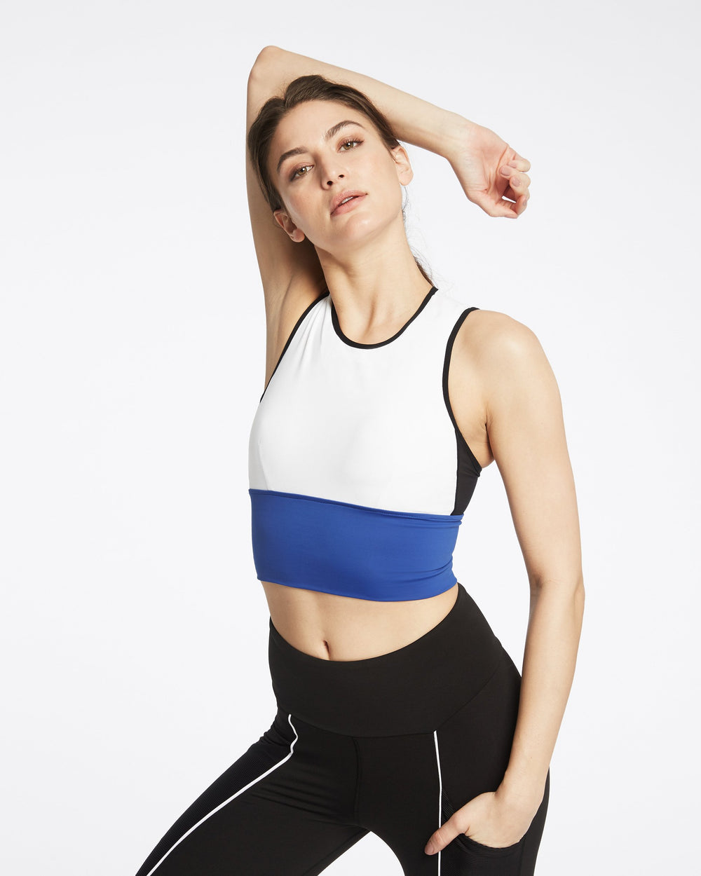 Ignite Crop Top  - White/Black/Adriatic Blue