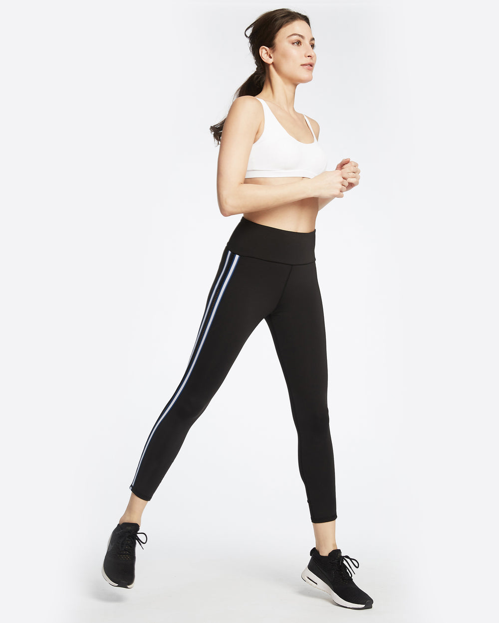 Le Mans High Waisted Legging - Black/Adriatic Blue
