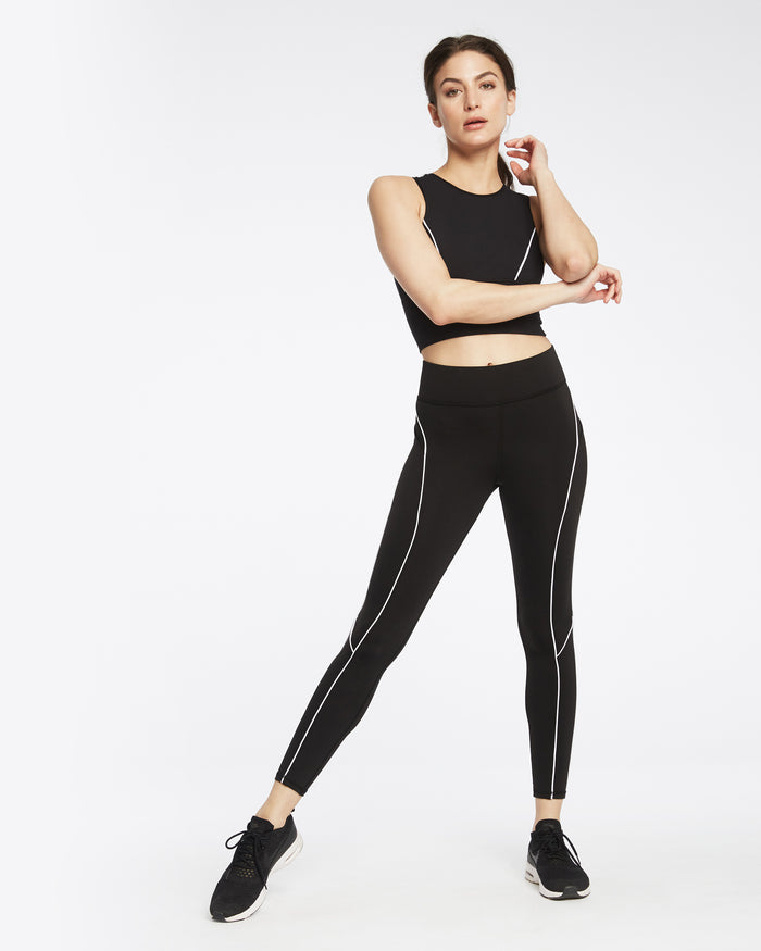 Linear Pocket Legging - Black/White