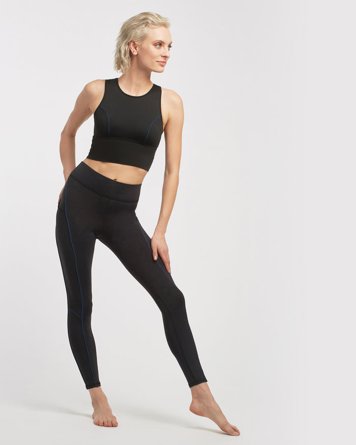 Linear Pocket Legging - Black/Adriatic Blue