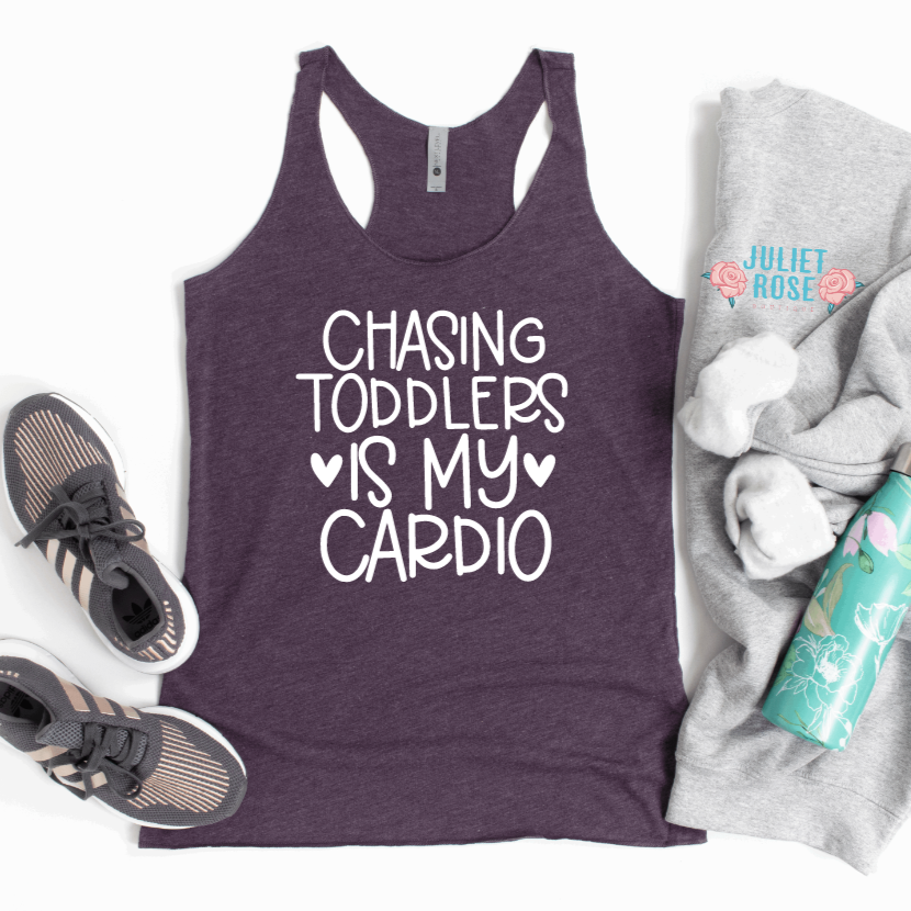 Chasing Toddlers is My Cardio Tank Top - Juliet Rose Boutique