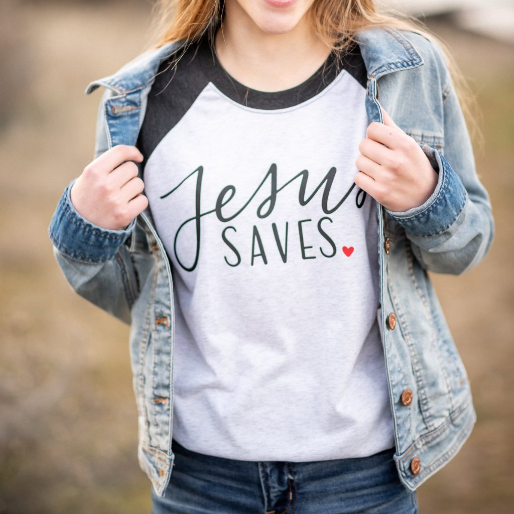 Jesus Saves Raglan - Juliet Rose Boutique