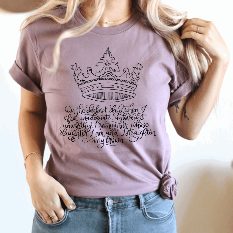 Daughter of the King Christian T-Shirt in Orchid - Juliet Rose Boutique