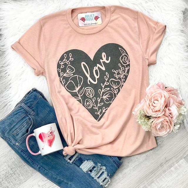 Floral Love Heart Tee - Juliet Rose Boutique