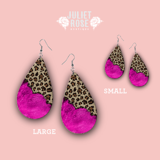 Fuchsia and Leopard Drop Earrings - Juliet Rose Boutique