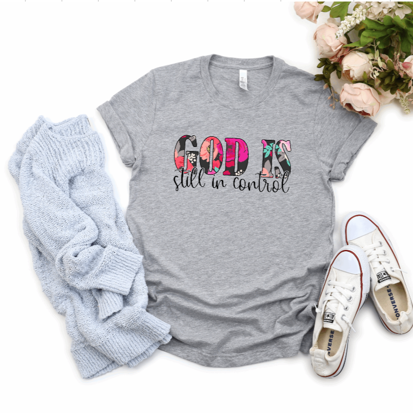 God is Still in Control Christian Tee - Juliet Rose Boutique