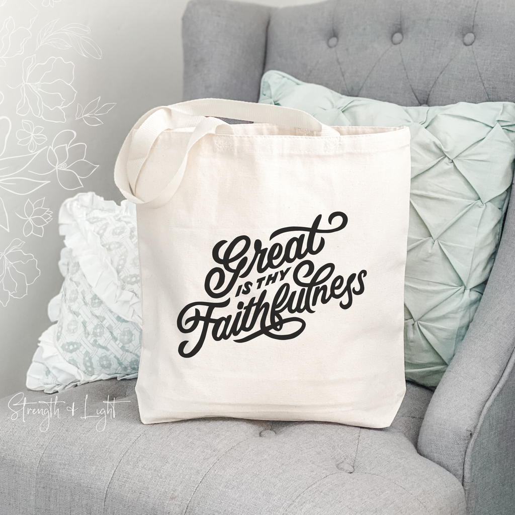 Great is Thy Faithfulness Christian Tote Bag - Juliet Rose Boutique