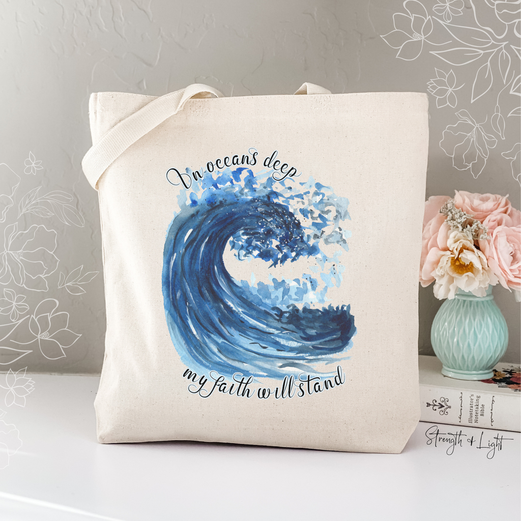 In Oceans Deep Christian Tote Bag - Juliet Rose Boutique