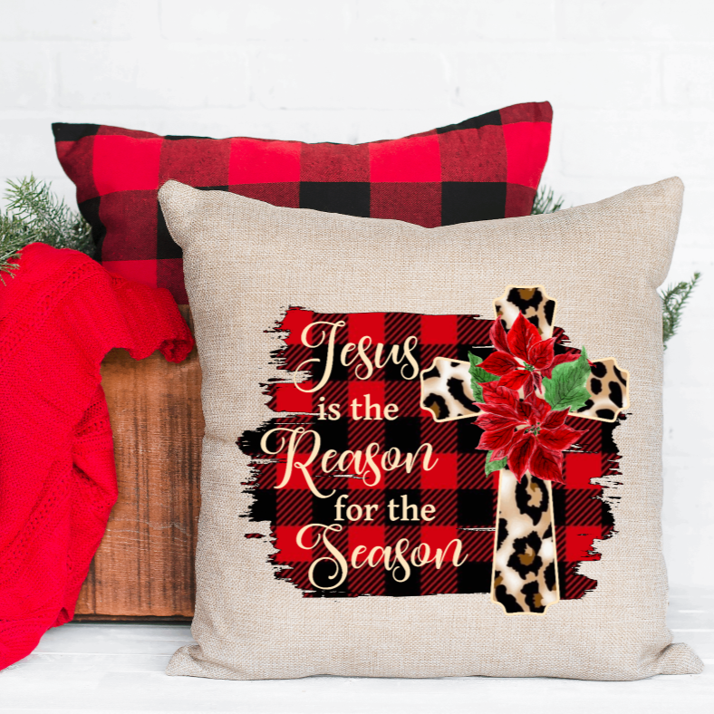 Jesus is the reason for the Season Christmas Pillow Cover - Juliet Rose Boutique