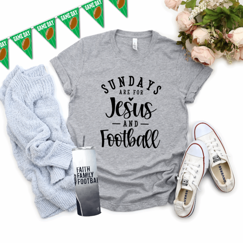 Sundays Are for Jesus and Football T-Shirt - Juliet Rose Boutique