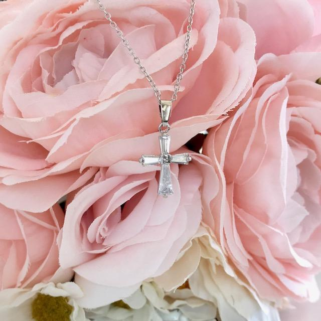 Crystal Cross Christian Necklace - Juliet Rose Boutique