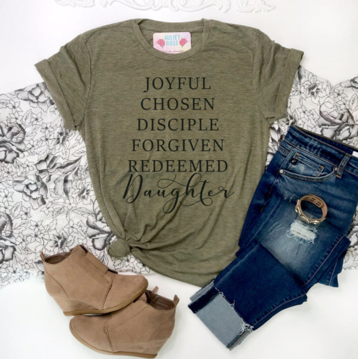 Daughter of the King Christian T-Shirt - Juliet Rose Boutique