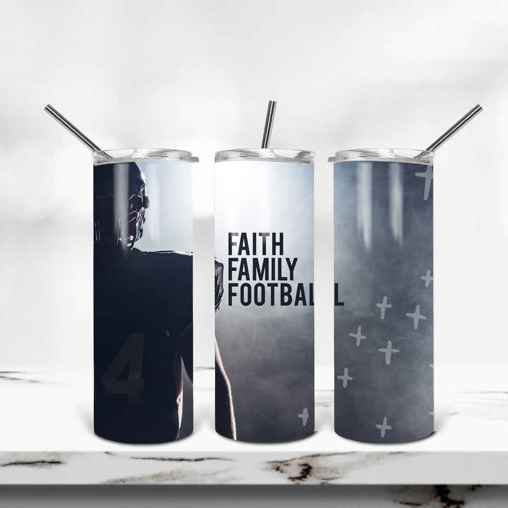 Faith Family Football 20oz Skinny Tumbler - Juliet Rose Boutique