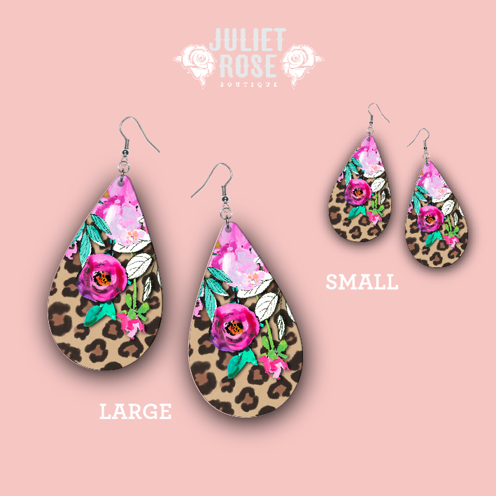 Floral Leopard Drop Earrings - Juliet Rose Boutique