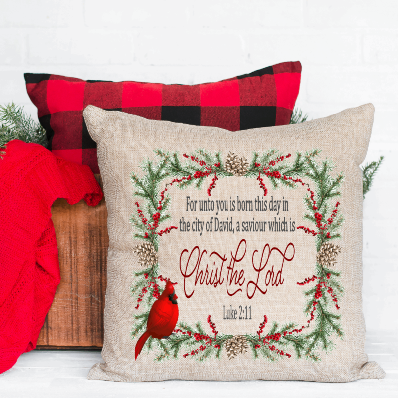 For Unto you is Born this Day Christmas Pillow Cover - Juliet Rose Boutique