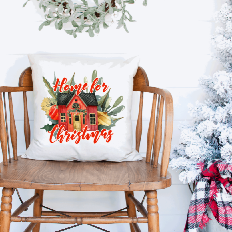 Home for Christmas Pillow Cover - Juliet Rose Boutique