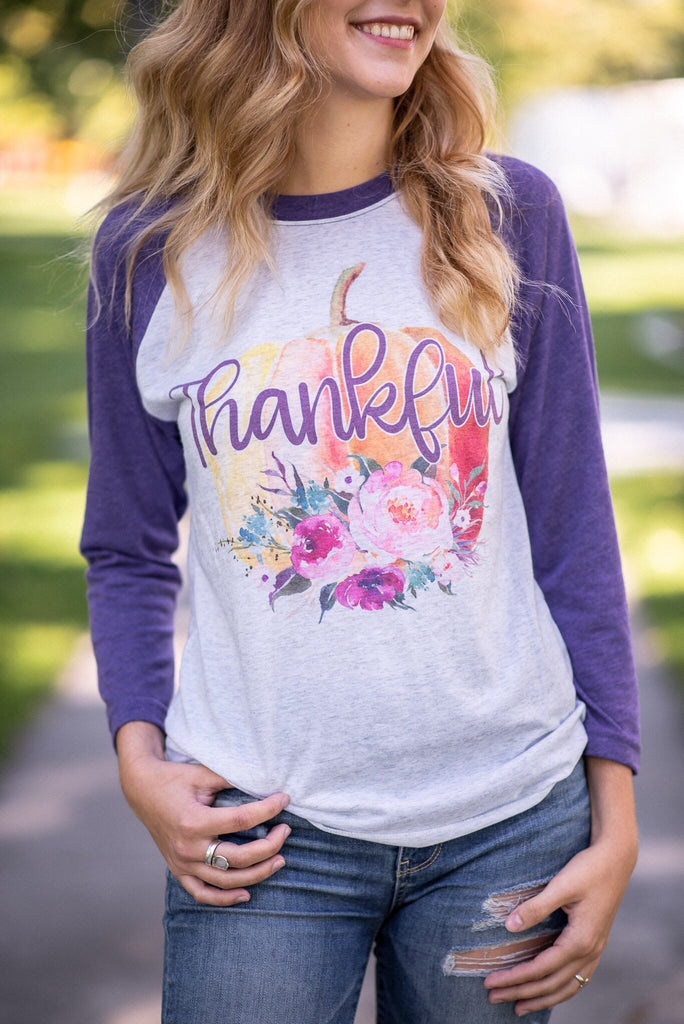 Thankful Floral Pumpkin Raglan - Juliet Rose Boutique