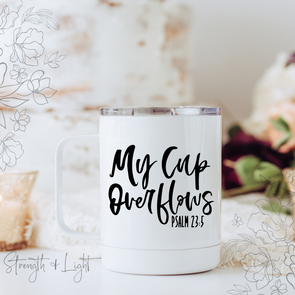 My Cup Overflows Psalm 23:5 Travel Mug - Juliet Rose Boutique