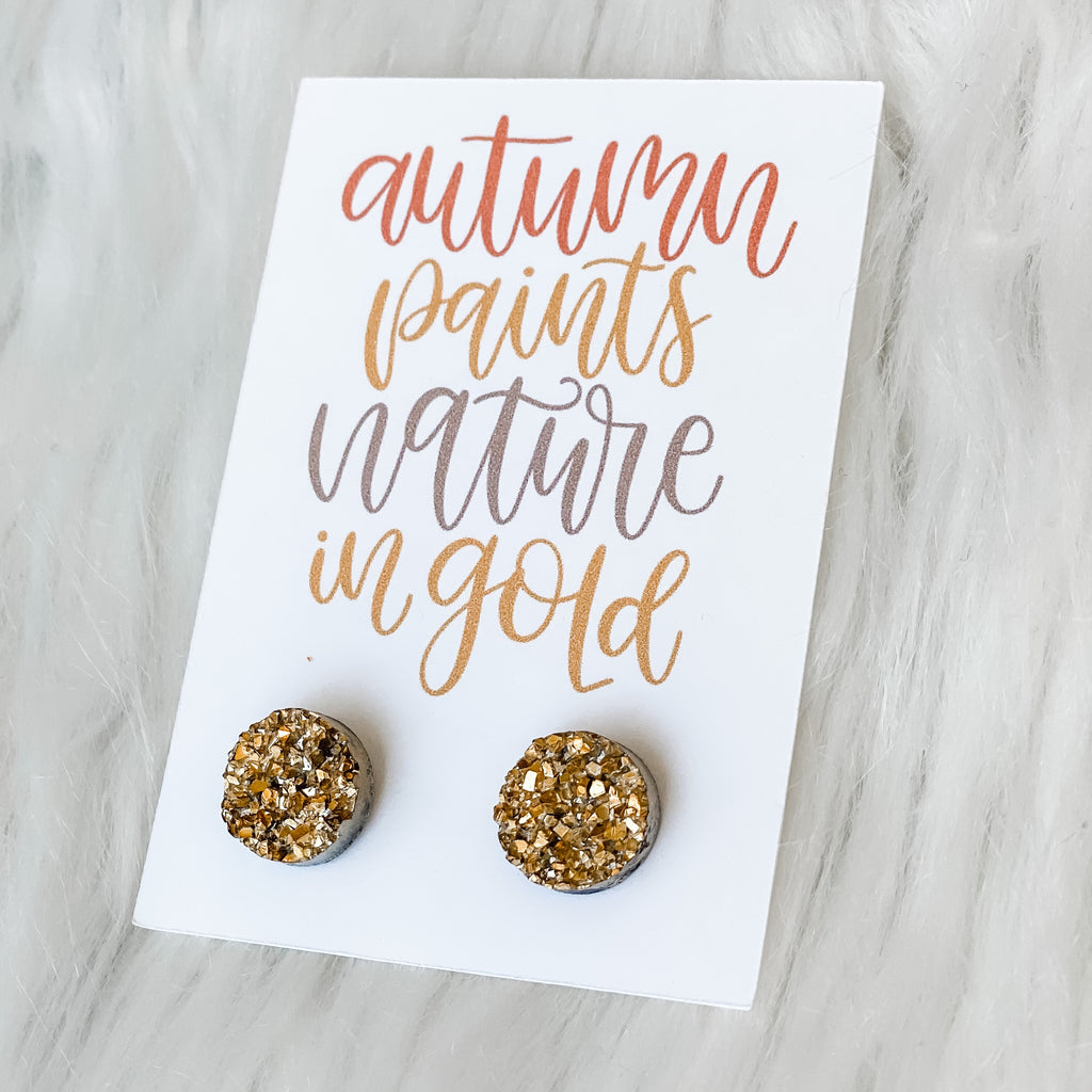 Natures Gold Druzy Earrings - Juliet Rose Boutique