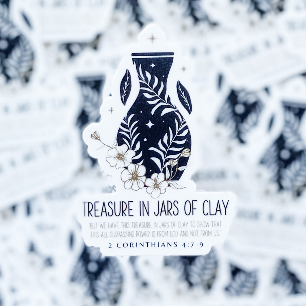 Treasures in Jars of Clay Christian Sticker - Juliet Rose Boutique