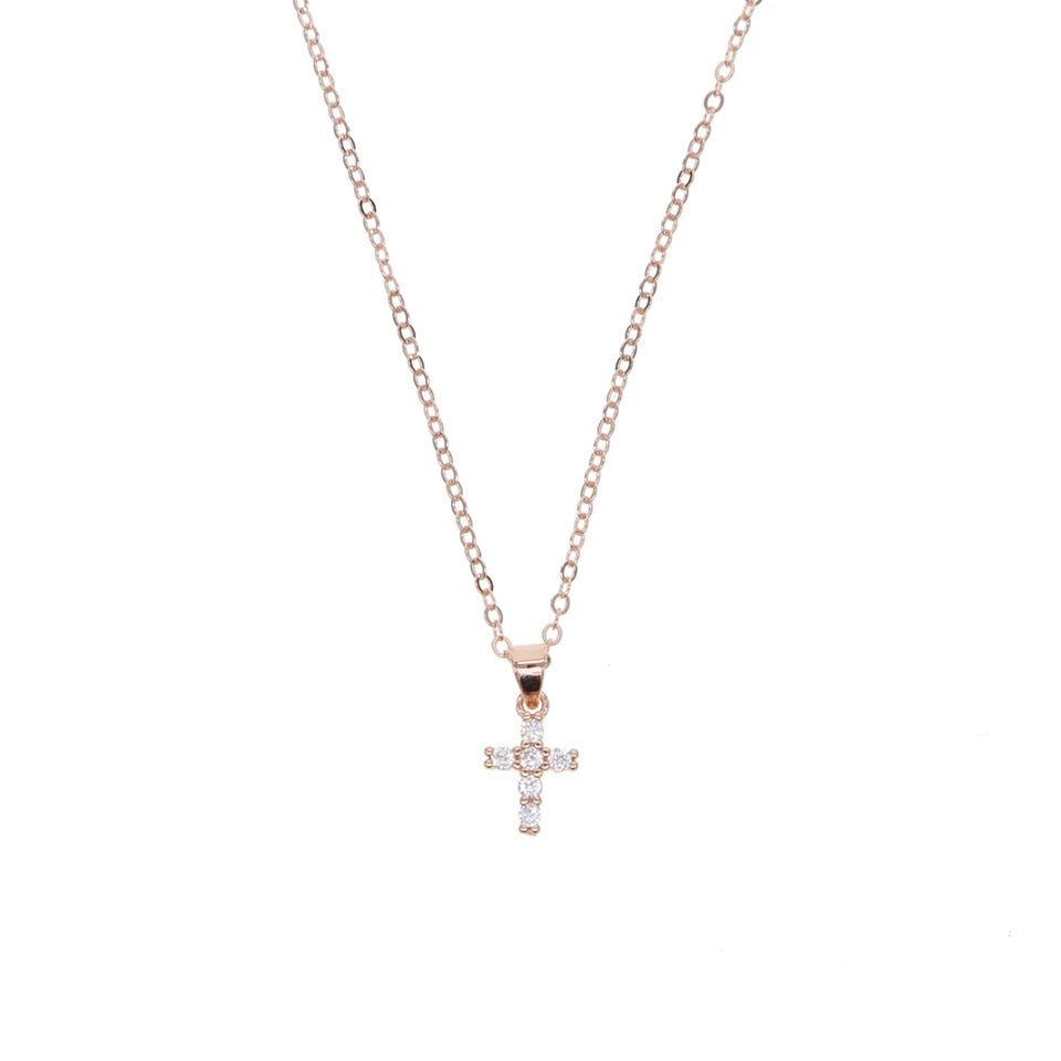 Petite Crystal Cross - Sterling Silver - Juliet Rose Boutique