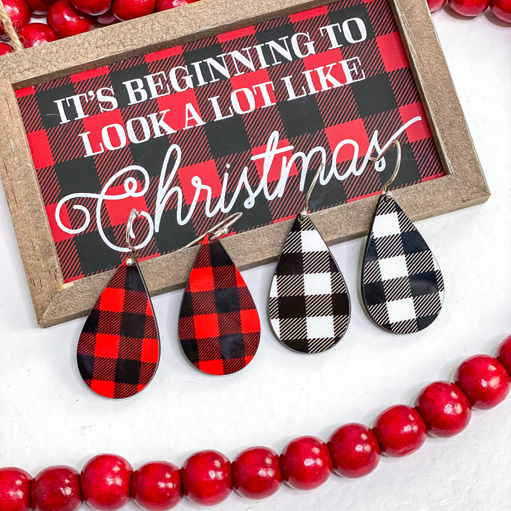 Buffalo Plaid Drop Earrings - Small - Juliet Rose Boutique