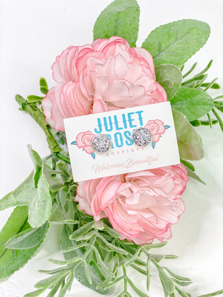 Petite Silver Druzy Stud Earrings - Juliet Rose Boutique