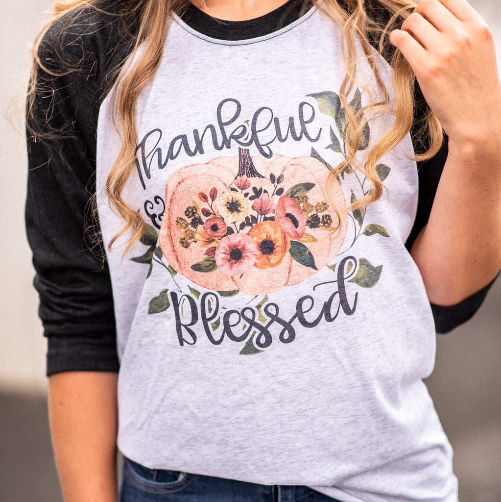 Thankful and Blessed Raglan - Juliet Rose Boutique