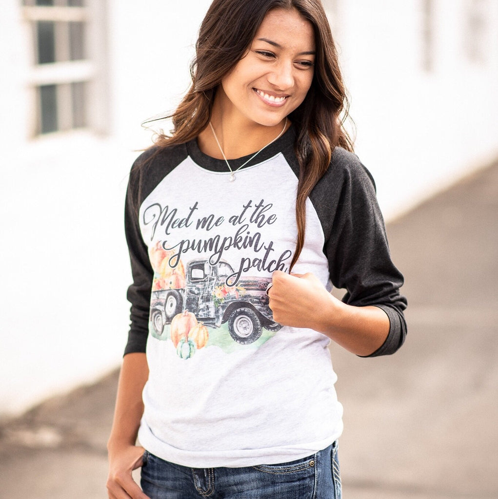 Meet Me at the Pumpkin Patch Raglan - Juliet Rose Boutique