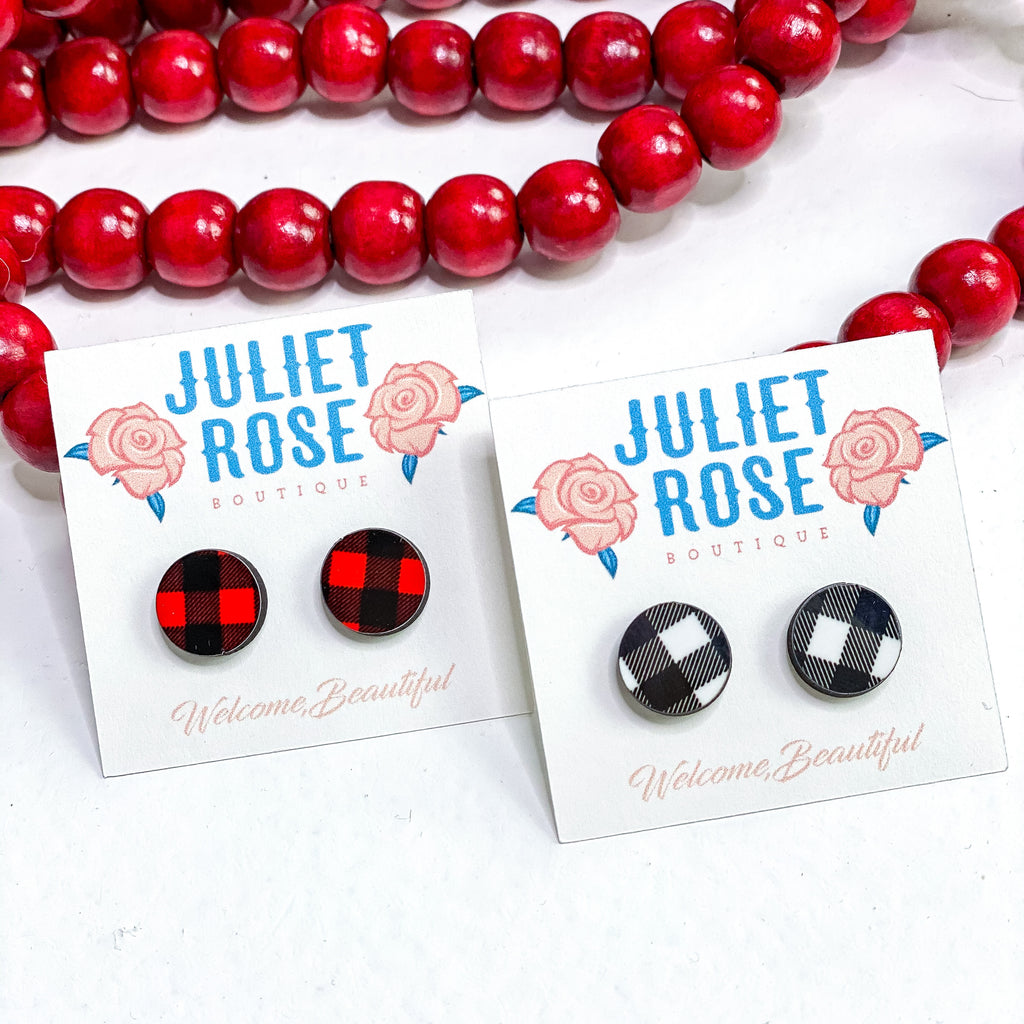 Buffalo Plaid Stud Earrings - Juliet Rose Boutique