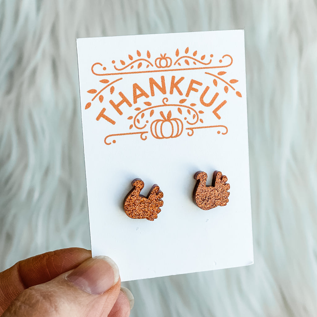 Gobble Gobble Turkey Stud Earrings - Juliet Rose Boutique