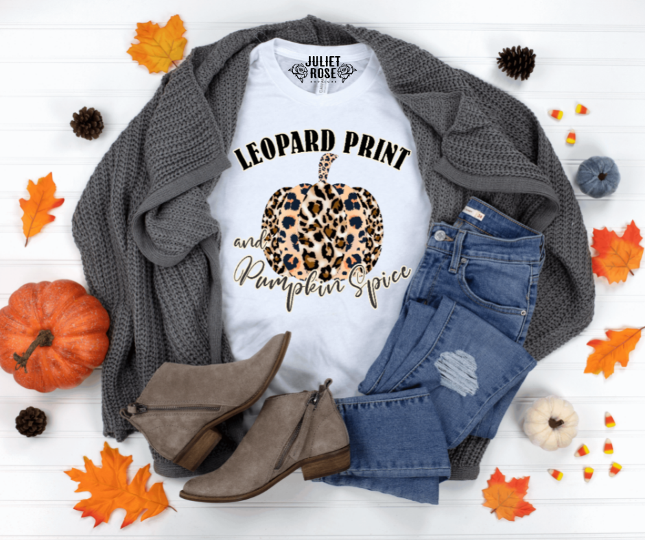 Leopard Print and Pumpkin Spice Graphic T-Shirt - Juliet Rose Boutique