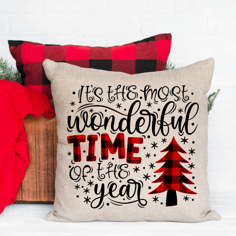 It's the Most Wonderful Time Christmas Pillow Cover - Juliet Rose Boutique