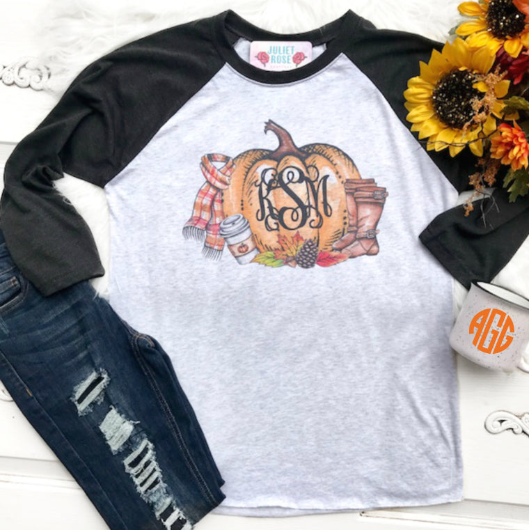 Fall Monogram Raglan - Juliet Rose Boutique