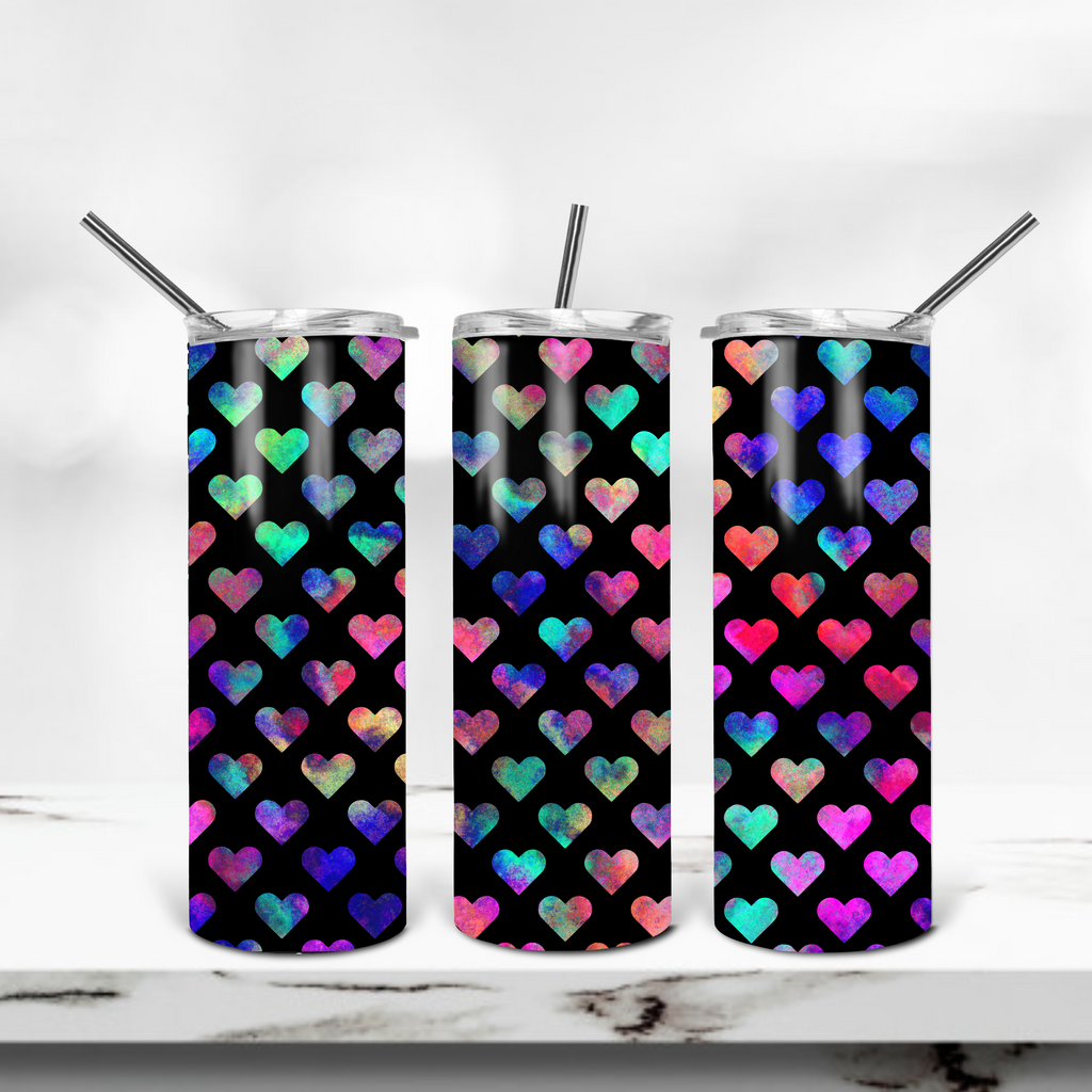 Rainbow Heart 20oz Skinny Tumbler - Juliet Rose Boutique