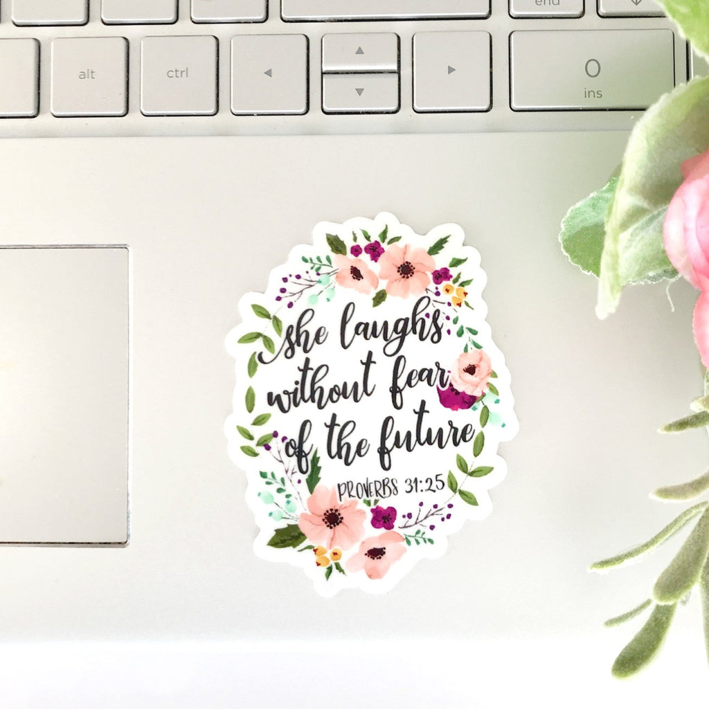 She Laughs without Fear Christian Sticker - Juliet Rose Boutique