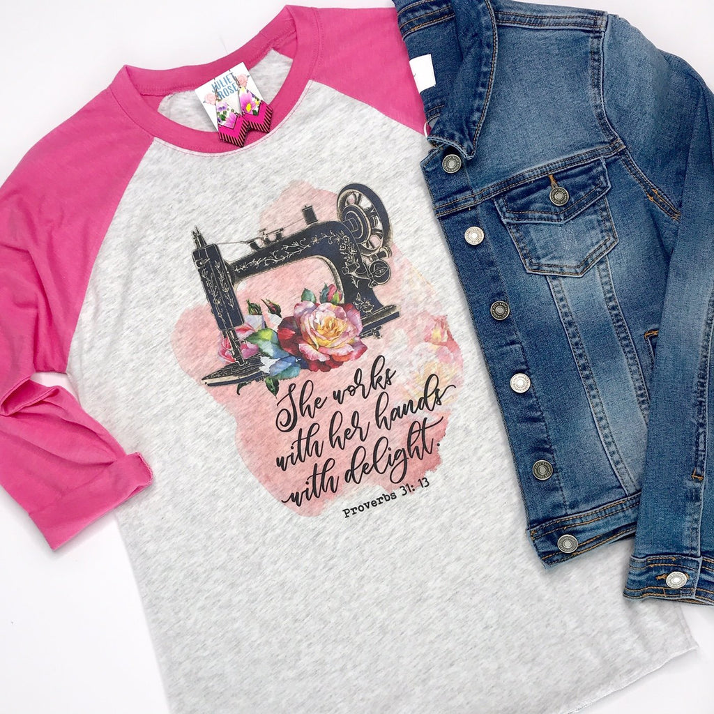 She Works with Her Hands Christian Raglan - Juliet Rose Boutique