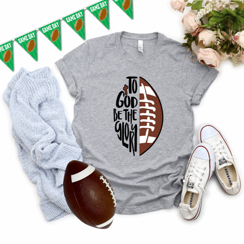 To God Be The Glory Football T-Shirt - Juliet Rose Boutique