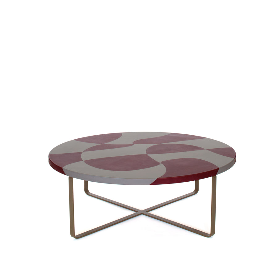 MAUPITI Inlaid Leather Top Coffee Table by Nestor Perkal for Oscar Maschera - DUPLEX DESIGN