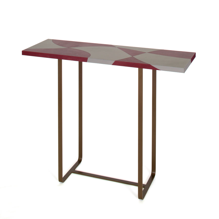FLORES Inlaid Leather Top Console Table by Nestor Perkal for Oscar Maschera - DUPLEX DESIGN