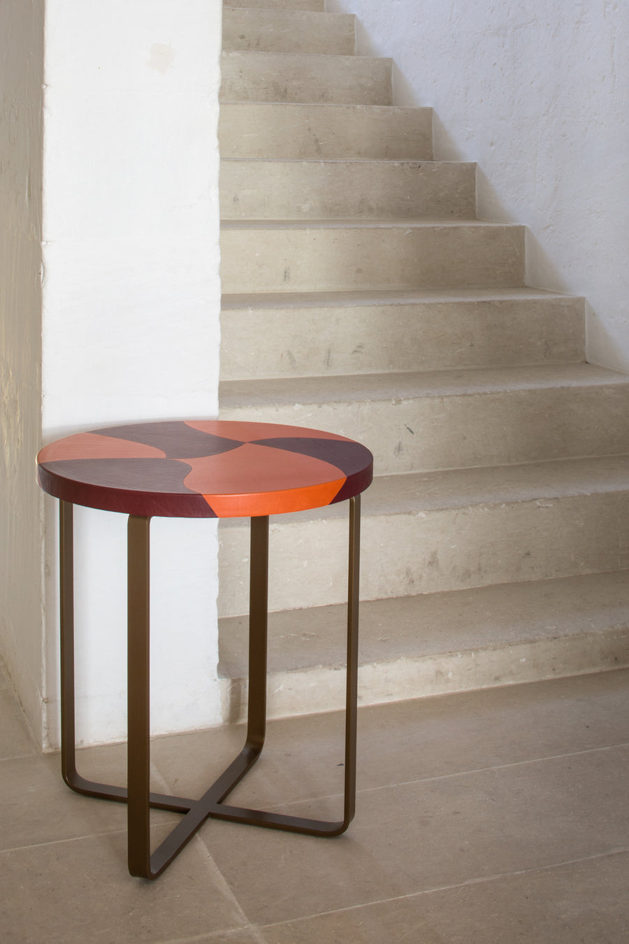 TIGRE Inlaid Leather Top Side Table by Nestor Perkal for Oscar Maschera