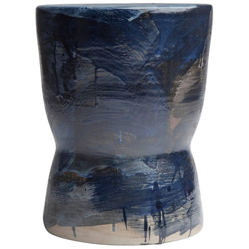 INDIGO 01 Limited Edition Stoneware Stool by Pascale Girardin - DUPLEX DESIGN