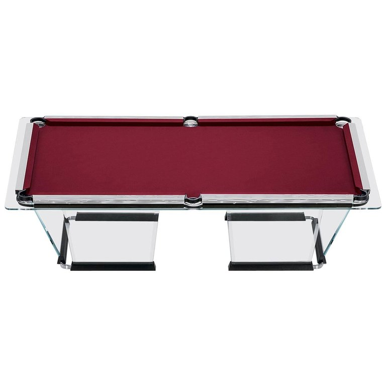 T1.2 Crystal Pool Table with Chrome Plated Covers by Marc Sadler for Teckell