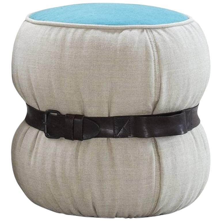 CHUBBY CHIC Fiber Pouf with Belt in Dark Brown Leather by Moroso for Diesel Living - DUPLEX DESIGN