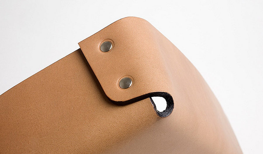 ALDO Square Riveted Leather Tray by Claude Bouchard for Oscar Maschera - DUPLEX DESIGN