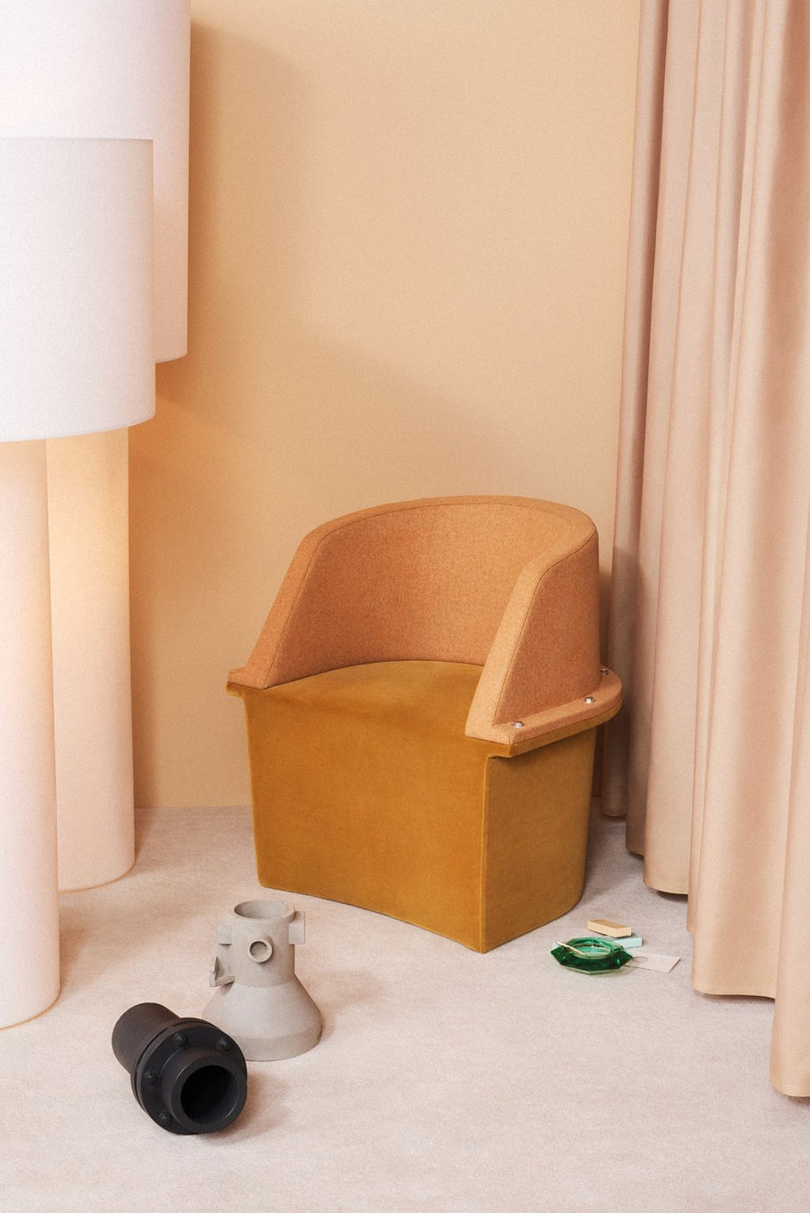 ASSEMBLY Upholstered Armchair with Steel Frame and Bolts by Moroso for Diesel Living - DUPLEX DESIGN
